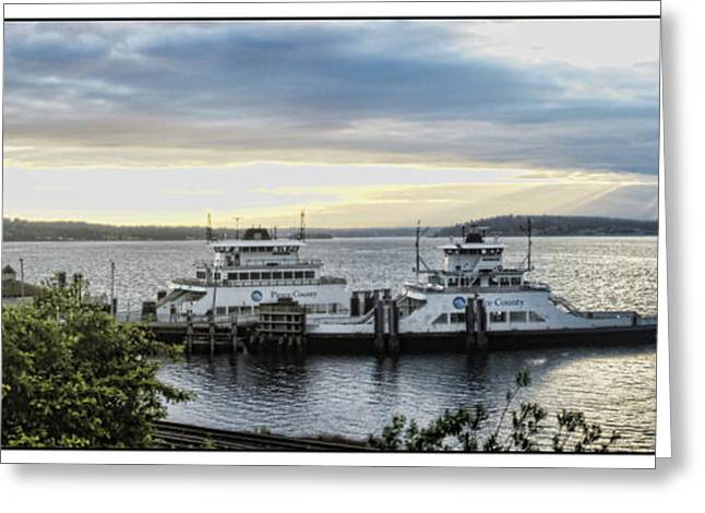 Puget Sound Framed Prints Greeting Cards - Steilacoom Ferry Greeting Card by Ron Roberts