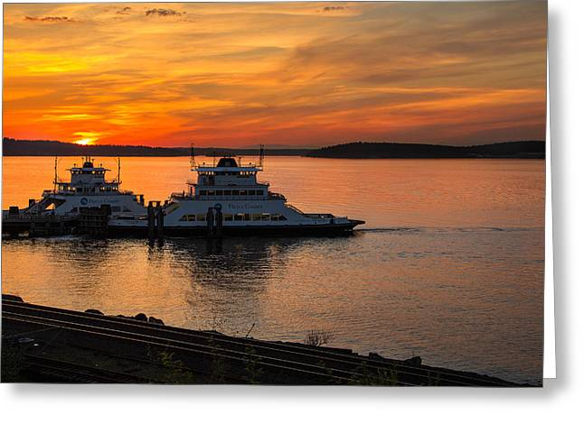 Steilacoom Greeting Cards - Steilacoom Ferrys at Sunsets Greeting Card by Rob Green