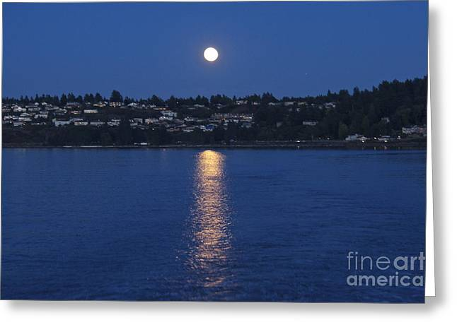 Steilacoom Greeting Cards - Steilacoom Moonrise Greeting Card by Sean Griffin