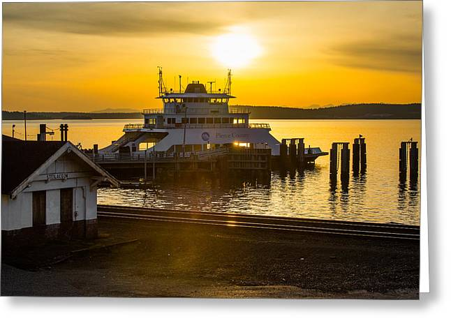 Steilacoom Greeting Cards - Steilacoom Terminal at Sunset Greeting Card by Kyle David Cozzens