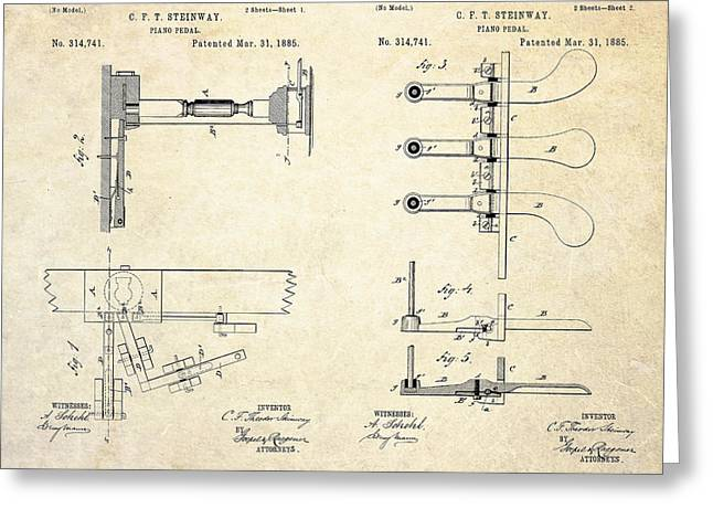 Pedal Greeting Cards - 1885 Steinway Piano Pedal Patent Art Greeting Card by Gary Bodnar