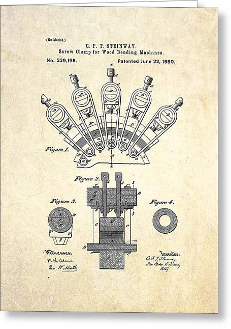 Clamps Greeting Cards - 1880 Steinway Screw Clamp Patent Art Greeting Card by Gary Bodnar