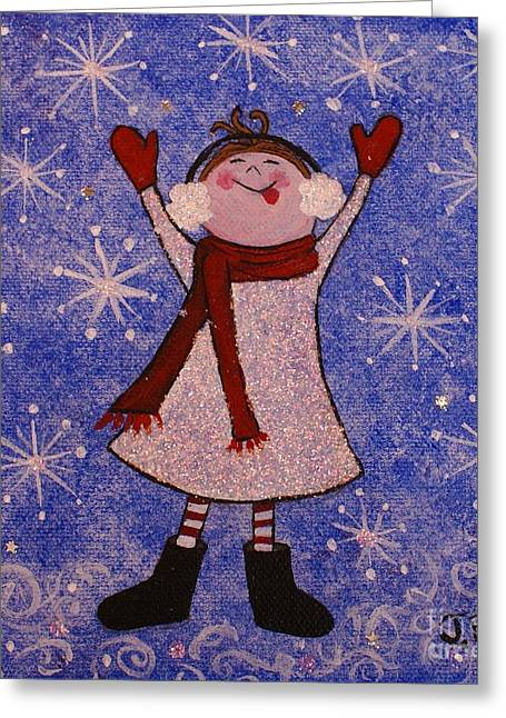 Floating Girl Greeting Cards - Stella and Snowflake Kisses Greeting Card by Jane Chesnut