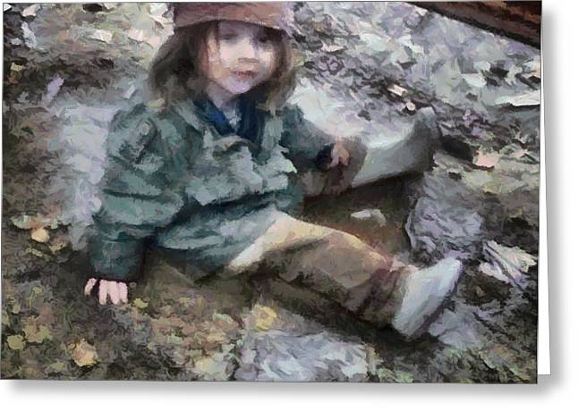 Playing Digital Greeting Cards - Stella in the mud Greeting Card by Gun Legler