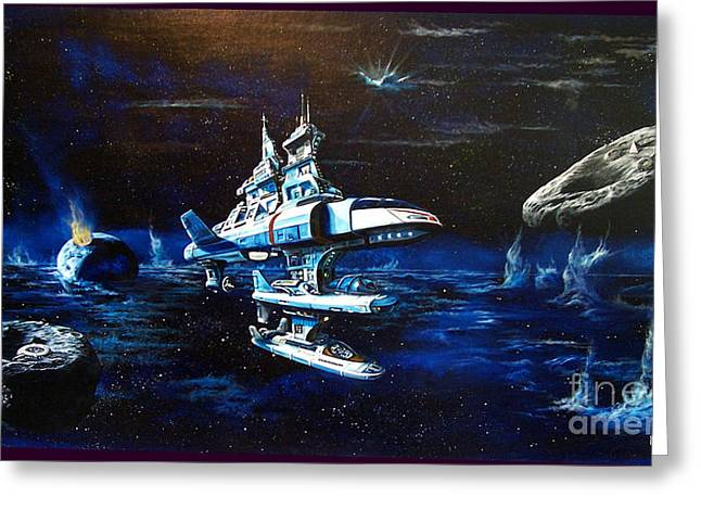 Stellar Paintings Greeting Cards - Stellar Cruiser Greeting Card by Murphy Elliott