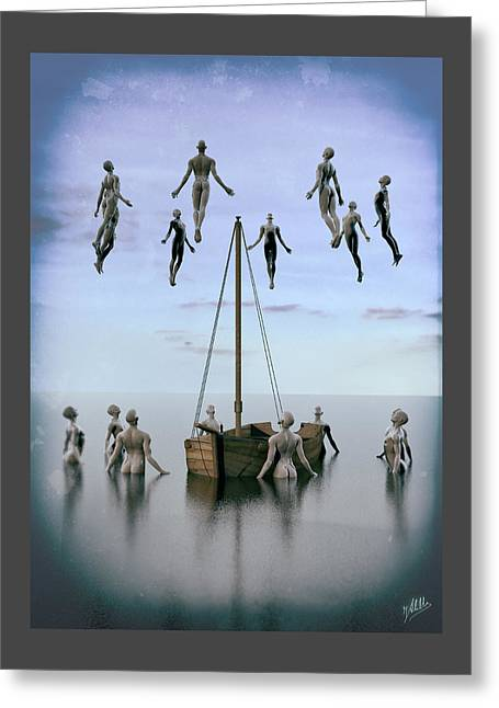 Freethinker Greeting Cards - Small boats of emigrants Greeting Card by Joaquin Abella