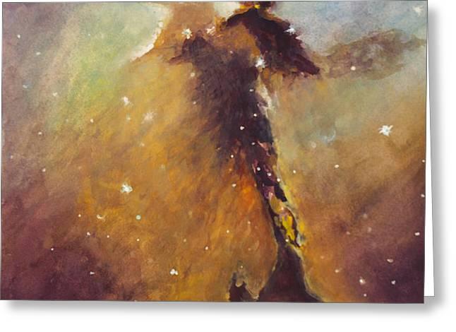 Stellar Spire in the Eagle Nebula Greeting Card by Allison Ashton