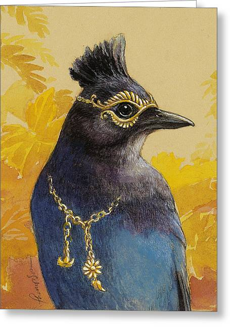 Fable Greeting Cards - Stellers Jay Goes to the Ball Greeting Card by Tracie Thompson