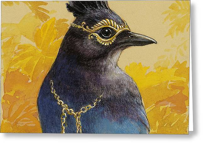Fabled Greeting Cards - Stellers Jay Goes to the Ball Greeting Card by Tracie Thompson