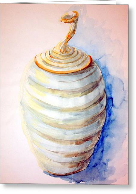 Hand Thrown Pottery Greeting Cards - Stem-lid Jar Greeting Card by Ashley Kujan