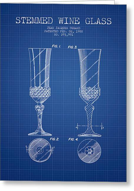 Glass Wall Greeting Cards - Stemmed Wine Glass Patent from 1988 - Blueprint Greeting Card by Aged Pixel