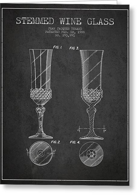 Wine Room Greeting Cards - Stemmed Wine Glass Patent from 1988 - Charcoal Greeting Card by Aged Pixel