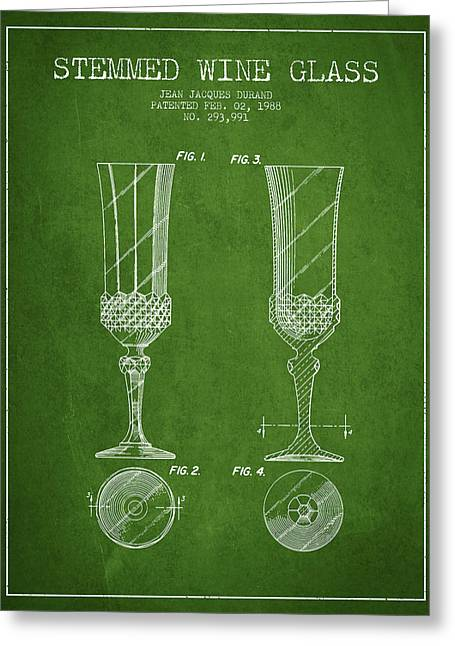 Wine-glass Digital Art Greeting Cards - Stemmed Wine Glass Patent from 1988 - Green Greeting Card by Aged Pixel