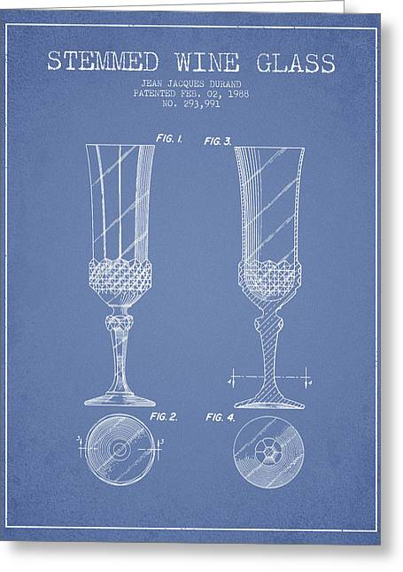 Wine Illustrations Greeting Cards - Stemmed Wine Glass Patent from 1988 - Light Blue Greeting Card by Aged Pixel