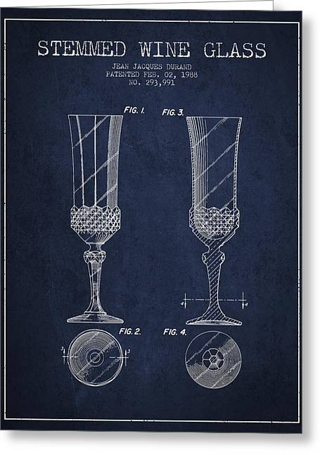 Wine Illustrations Greeting Cards - Stemmed Wine Glass Patent from 1988 - Navy Blue Greeting Card by Aged Pixel