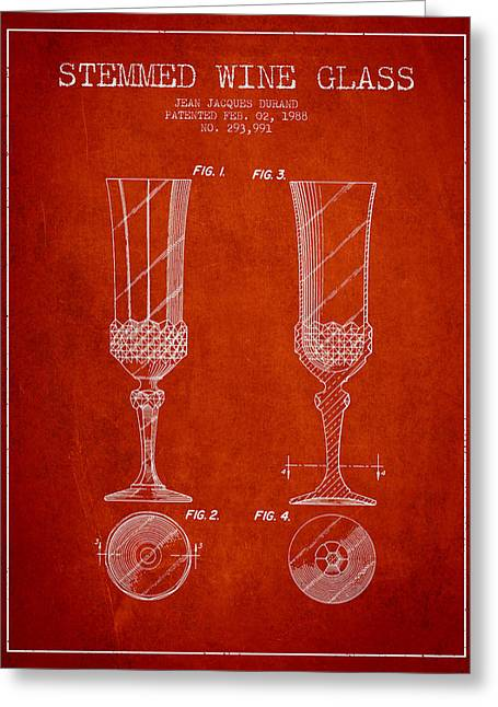 Wine Room Greeting Cards - Stemmed Wine Glass Patent from 1988 - Red Greeting Card by Aged Pixel