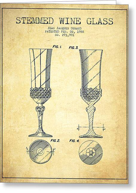 Wine-glass Digital Art Greeting Cards - Stemmed Wine Glass Patent from 1988 - Vintage Greeting Card by Aged Pixel