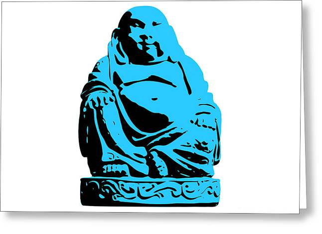 Awesome Greeting Cards - Stencil Buddha Greeting Card by Pixel Chimp