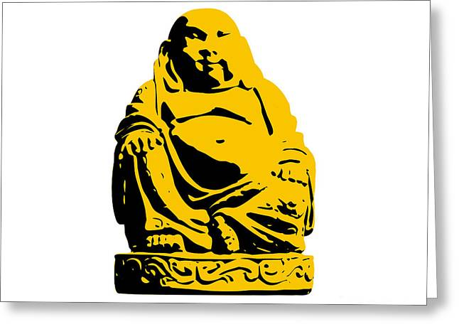 Andy Greeting Cards - Stencil Buddha Yellow Greeting Card by Pixel Chimp