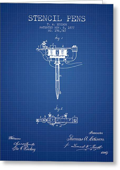Edison Greeting Cards - Stencil Pen Patent from 1877 - Blueprint Greeting Card by Aged Pixel