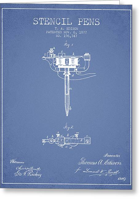 Edison Greeting Cards - Stencil Pen Patent from 1877 - Light Blue Greeting Card by Aged Pixel