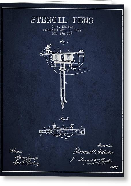 Edison Greeting Cards - Stencil Pen Patent from 1877 - Navy Blue Greeting Card by Aged Pixel