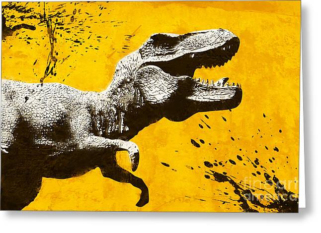 Dinosaurs Greeting Cards - Stencil TREX Greeting Card by Pixel Chimp
