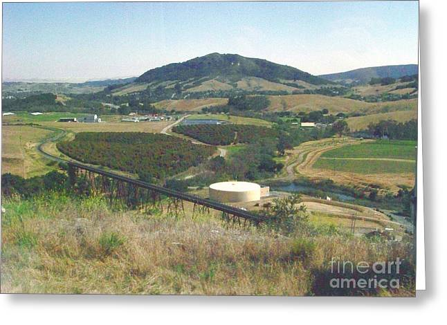 Bishops Peak Greeting Cards - Stenner Creek Amtrak Trestle Greeting Card by Charles Robinson