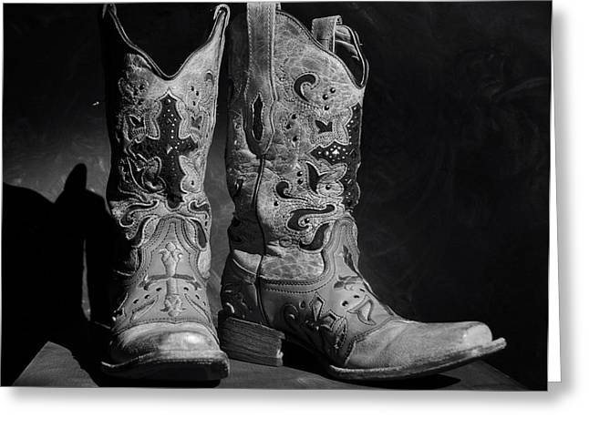 Fancy Boots Greeting Cards - Step Away BW Greeting Card by Ruben Barbosa