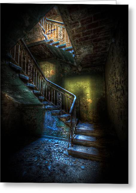 Creepy Digital Greeting Cards - Step into the light Greeting Card by Nathan Wright