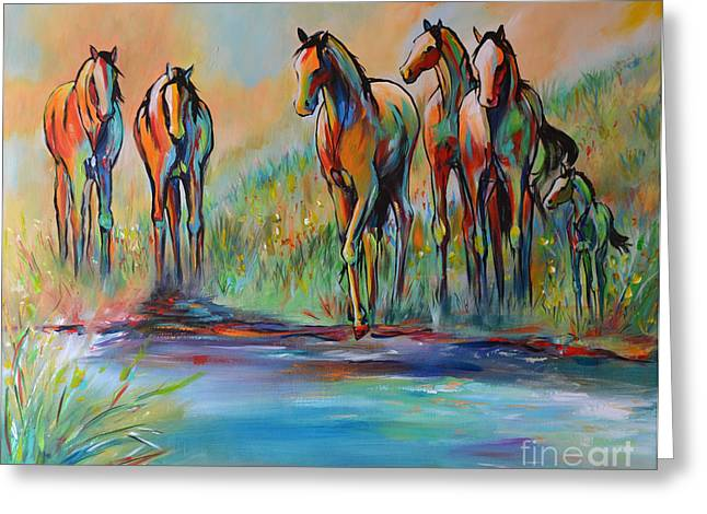 Wild Horse Greeting Cards - Step of Faith Greeting Card by Cher Devereaux