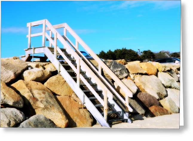 Wooden Stairs Greeting Cards - Step onto the Shore Greeting Card by Kathy Barney