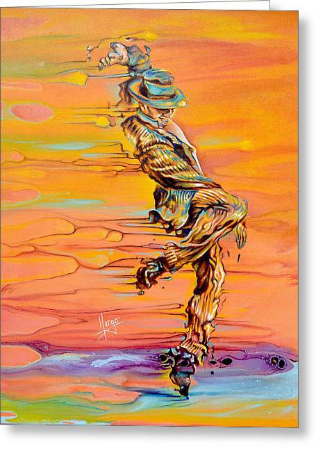 Figure In Oil Greeting Cards - Step up Greeting Card by Karina Llergo Salto