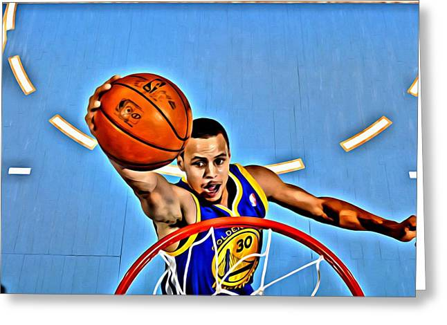Best Sellers -  - Slamdunk Greeting Cards - Steph Curry Greeting Card by Florian Rodarte