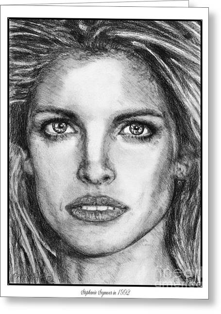 Fame Drawings Greeting Cards - Stephanie Seymour in 1992 Greeting Card by J McCombie
