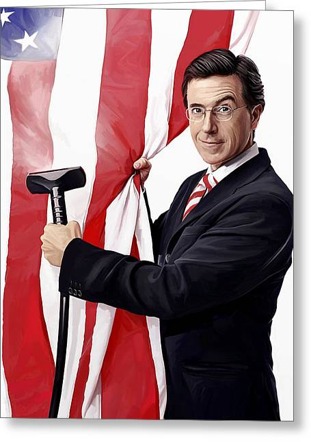 Comedian Mixed Media Greeting Cards - Stephen Colbert Artwork Greeting Card by Sheraz A