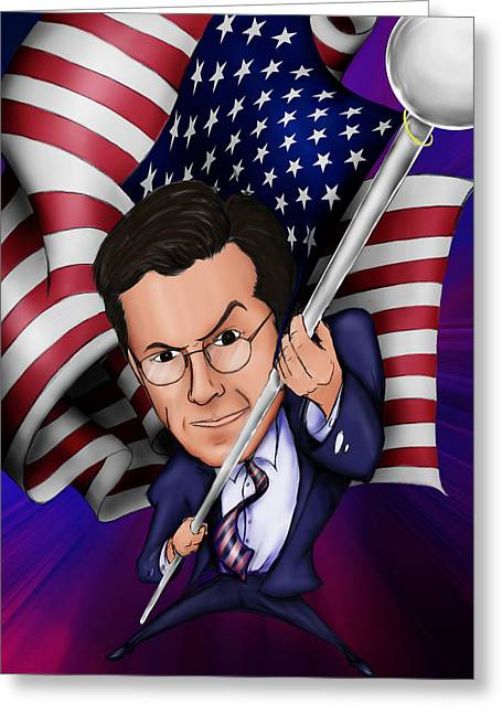 Sweating Digital Greeting Cards - Stephen Colbert Greeting Card by Paul Gioacchini