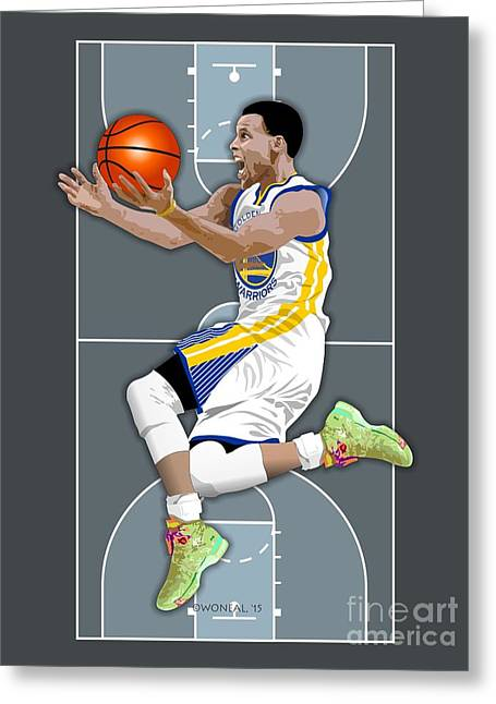 Golden State Warriors Digital Greeting Cards - Stephen Curry Greeting Card by Walter Oliver Neal