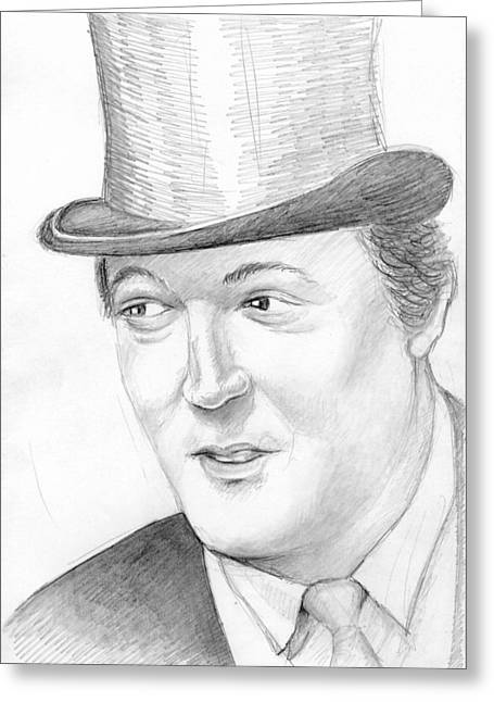 Fries Drawings Greeting Cards - Stephen Fry portrait Greeting Card by Alexander Smirnov