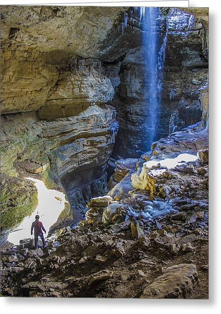 Cavern Pyrography Greeting Cards - Stephens Gap Spelunking Greeting Card by Dustin  Gavin