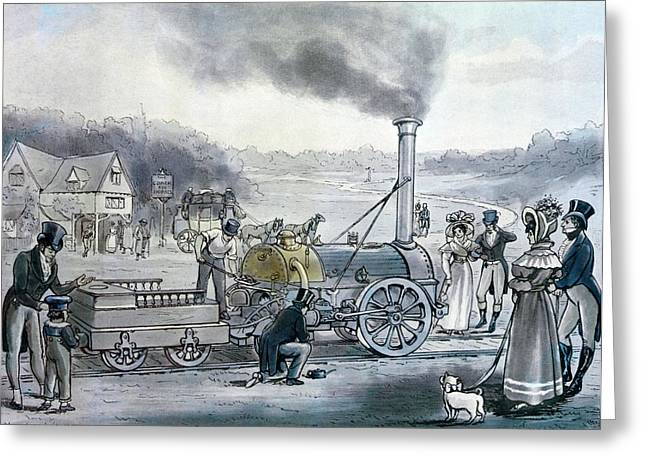 Invention Photographs Greeting Cards - Stephensons Northumbrian, The First Locomotive To Be Built With An Integral Firebox Print Greeting Card by English School