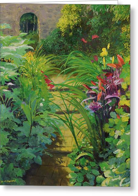 Overgrown Greeting Cards - Stepped Path, 20078 Oil On Canvas Greeting Card by William Ireland