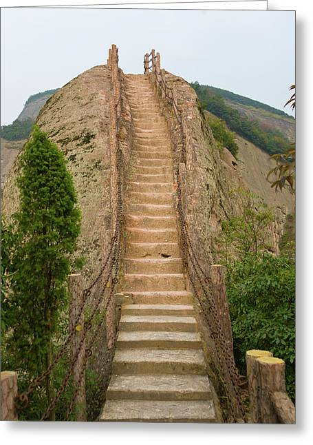 Stepped Pathway In The Mountain, Ziyuan Greeting Card by Keren Su