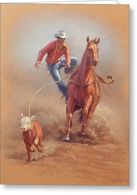 Cowboys Greeting Cards - Steppin down at Red Lodge Greeting Card by Paul Krapf