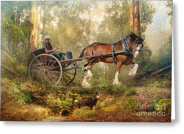 Clydesdale Greeting Cards - Steppin Out Greeting Card by Trudi Simmonds