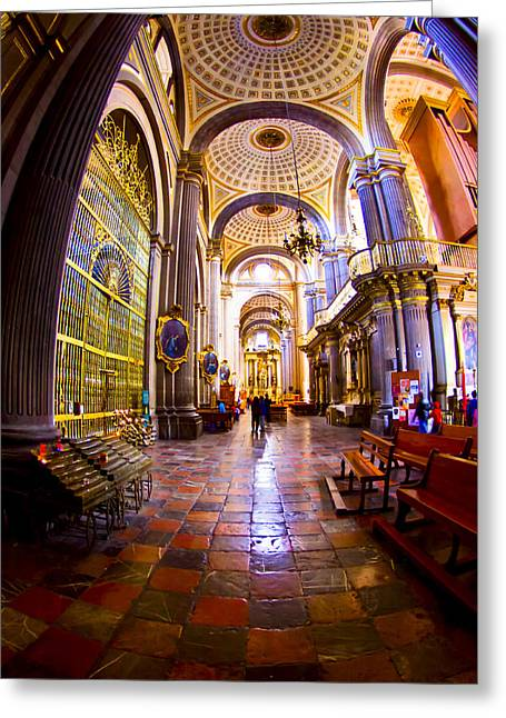 Puebla Greeting Cards - Stepping Into Puebla Cathedral Greeting Card by Mark Tisdale