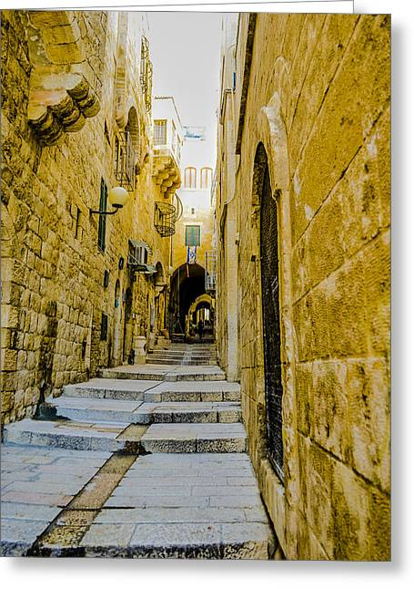 Birthright Greeting Cards - Stepping through the Old City Greeting Card by Alan Marlowe