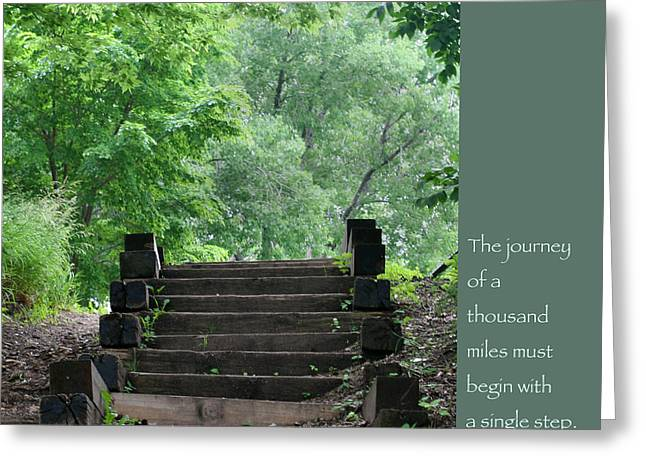 Climb Tree Greeting Cards - Steps and Lao Tzu Quote Greeting Card by Heidi Hermes