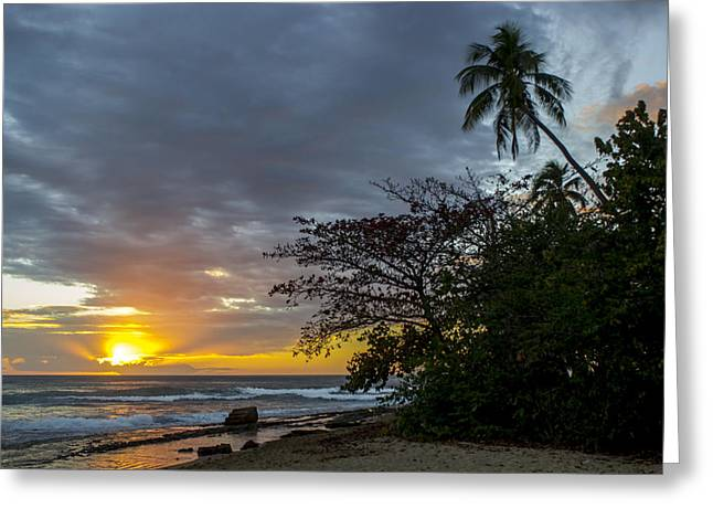 Rincon Beach Photographs Greeting Cards - Steps Beach Sunset Greeting Card by Elena Cruz