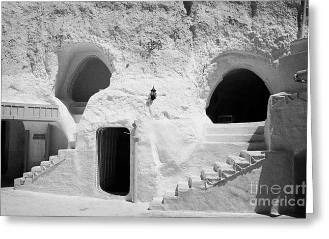 Dug Out Greeting Cards - steps from the courtyard up to the entrance of the caves at the Sidi Driss Hotel underground at Matmata Tunisia scene of Star Wars films Greeting Card by Joe Fox